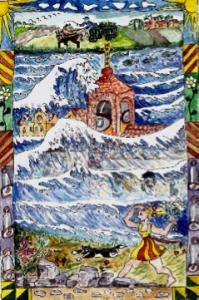 Die untergegangene Stadt im Kölpinsee, Illustration von Brigitte Martin