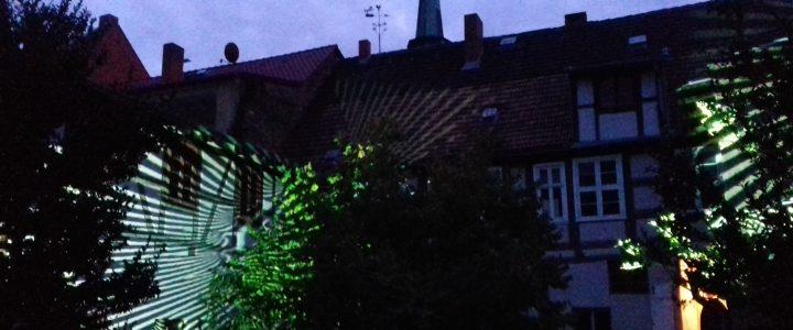 Lichtprojektionen von Dietmar Korth im Haselhof, Bildautorin Johanna Martin